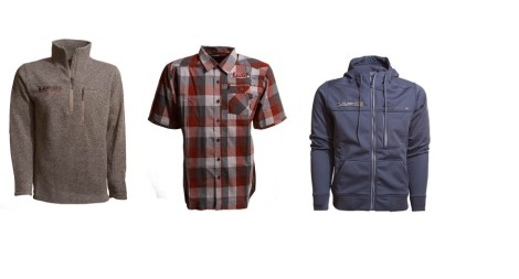 From Left, Simms Men's River Shed 1/4 Zip Sweater, Men's Espirito Block Plaid Shirt and Ladies' Rogue Fleece Hoodie.